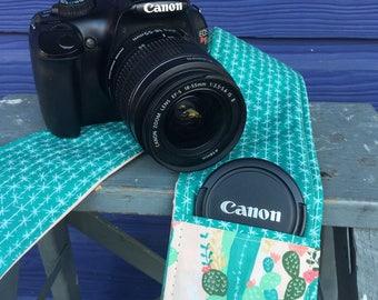Camera Strap Cover with Lens Pocket Ready to Ship Canon Nikon DSLR Photographer Photography #103 Cactus Cacti Teal Pink