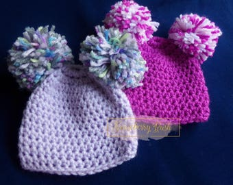Photo prop, crocheted pom pom hat, 0 - 3 months.