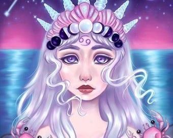 Moonchild - Zodiac, Astrology, 8.5x11 Fine Art Print, cancer zodiac, cancer art, constellation, moon art, mermaid art, pop surrealism