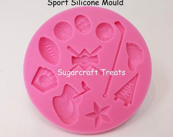 Sport Golf Rugby Football Silicone Mould Cup Cake Topper Chocolate Sugarcraft