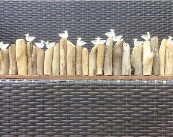 Seagulls On Driftwood Groynes Large Rustic Handmade Decoration
