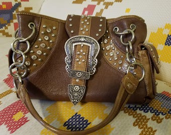 Rhinestone Brown Leather Purse