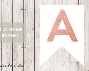 DIY Banner - 'A'. Instant Download. Printable Banner Letters. Pink Glitter. - 01