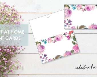 Tent/Placeholder Card. Instant Download. Printable Tent Card. Pink Flowers. -06