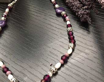 Beaded Purple Heart Necklace