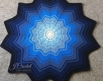Crochet Sapphire Star Blanket Afghan
