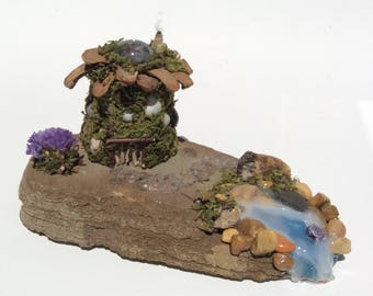 Fairy house with waterfall,fairy garden decorations,miniature fairy house,