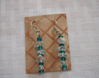 Beaded Earrings, Turquoise with Clear Rocks