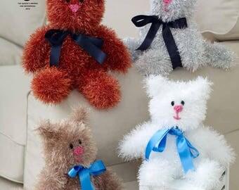 Tinsel Cats Knitting Pattern - King Cole Tinsel Chunky Knitting Pattern 9049