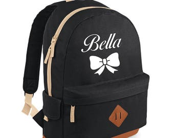 iLeisure Full Size Girls Name with Bowtie Printed School Back Pack, Rucksack