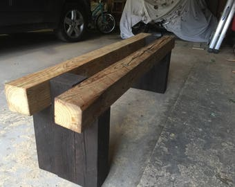 Outdoor bench - reclaimed pine timbers