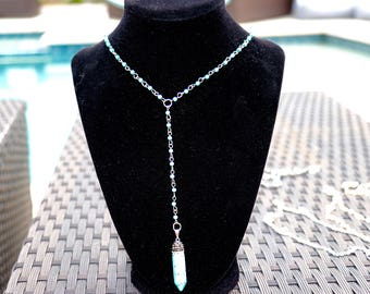 turquoise lariat crystal necklace