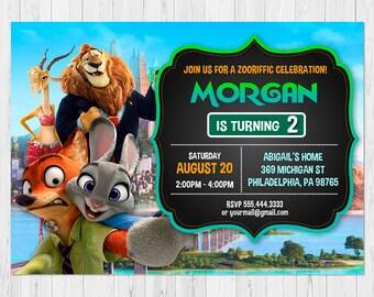 Zootopia Invitation Printable, Zootopia Birthday Invitation, Party Invite, Zootopia Party Invitation, FREE Zootopia Thank You Card, vAu