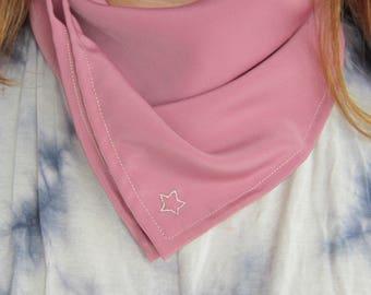 Satin Bandana // Embroidered Star // Pink Bandana