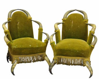 a pair antique bull horn chairs austria 1870