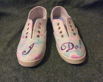 "Customizable ""I Do!"" Watercolor Wedding Sneakers"
