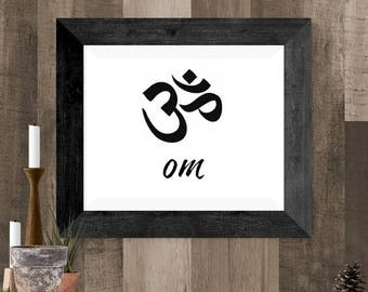 Om Symbol Wall Art, Simple Black and White Om Printable Poster, Yoga Gift, Om Symbol Gift, Printable Om, Zen Poster, Housewarming Gift