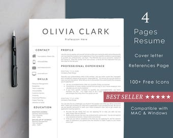 Clean Resume Template | Resume Template 3 page | CV Template + Cover Letter for MS Word | Instant Digital Download | 'Olivia'