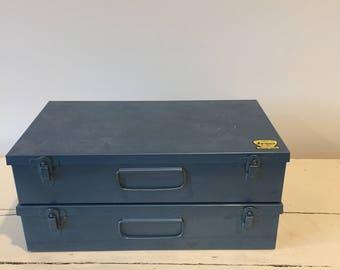 Vintage 35mm slide storage - Set of 2 Metal Slide Boxes | Mid-Century Industrial Made in Canada