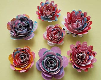 Set of 12 Small Pattern Paper Flower, Hello Kitty Pattern Paper aflower, Shadow Box Paper Flower,