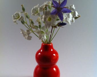 mini flower vase red