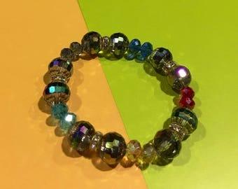 Multicolored Crystal Ball Bling Bracelet