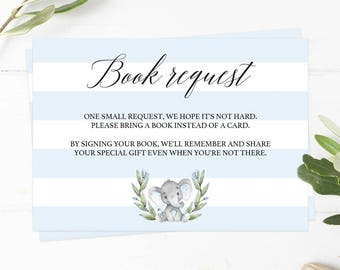 Watercolor Elephant Baby Shower Games Printable, Bring Books for Baby Shower, Bring a Book Instead of Card, Printable Book Request Card, LBE