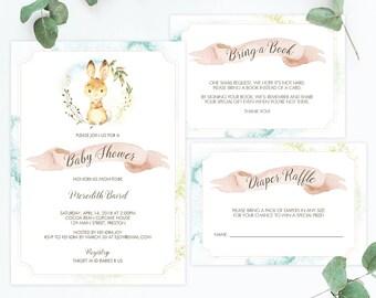 Spring Baby Shower Invitation Set Template Download Watercolor Bunny Invitation Downloads Baby Shower Invitation Gender Neutral Girl Boy LB2