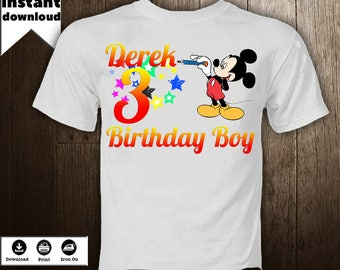 Mickey Mouse Iron On Derek Birthday Boy Shirt Transfer Personalized Image Disney T Printables DIY