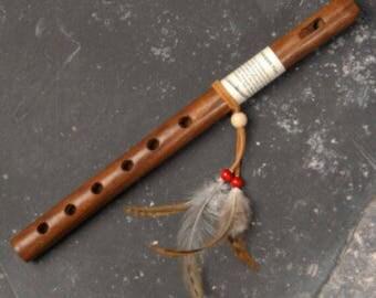 "Kokopelli Flute, Native American Style, Traditional Six hole, 13"" Long."