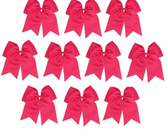 """12 Pink Jumbo Hair Bows 8"""" Ponytail with 3"""" Ribbon Girls Cheerleading Cheer Large Bow Blanks Design Custom Personalized  Printing Embroidery"""
