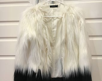 Womens Small Black and White Faux Fur Jacket Coat