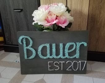 Personalized costume made  last name And Est date String art  wall decoration