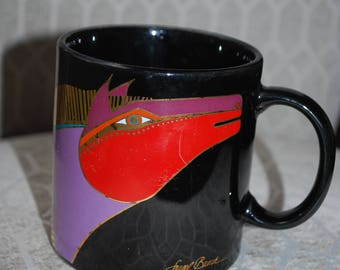 Laurel Burch art coffee cup''Moroccan horses''-collectible.