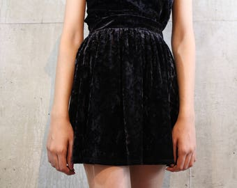 Black Crushed Velvet Skater Skirt