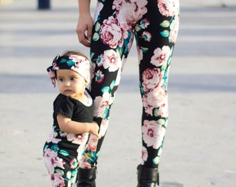 mommy and me leggings mother and daughter matching clothes baby thights stretch pants wholesale baby fashion mama matching floral leggings