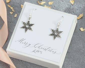 Vintage snowflake drop earrings, christmas earrings, christmas jewellery, christmas gift for her, stocking filler, snowflake jewellery
