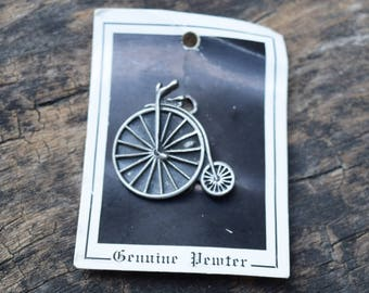 """Vintage Pewter Farthing High Wheeler Old Fashioned Bicycle Pin Brooch 1"""" tall"""