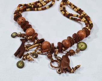 Lot of Jewelry - wood beads, seeds, shells, carved wood, necklace, earrings