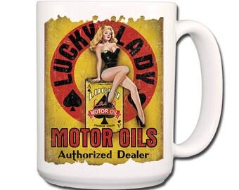 Lucky Lady Oil Vintage Design Extra Large Coffee Mug 15 oz