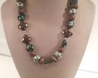 Wooden Teal Beaded Necklace