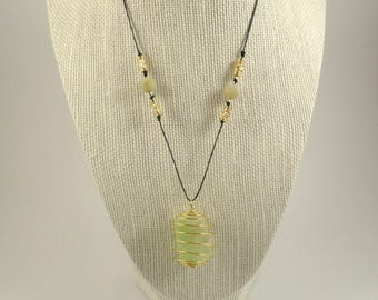 Green Calcite Necklace with Amazonite Beads on 1mm Cord