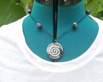 Handmade spiral design clay necklace
