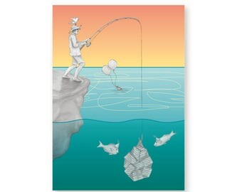 Birthday Card Male Fishing - Catch of the Day