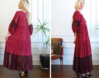 Hand dyed Embroidered Gauze Bohemian Maxi Dress