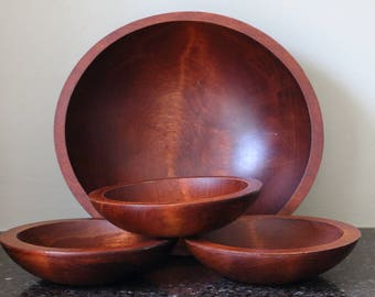 Baribocraft Wood Salad Bowl Set