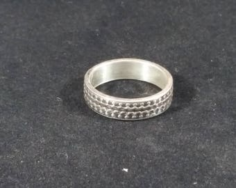 Patterned sterling silver ring, Sterling silver ring, Sterling silver band, Patterned ring band