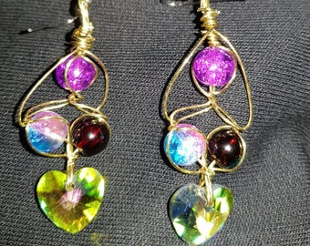 Heart beaded earrings.