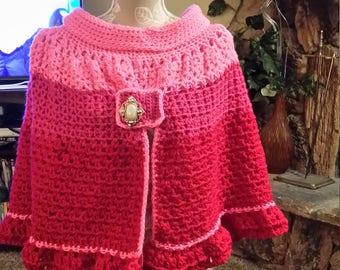 Crochet Pink Short Cape