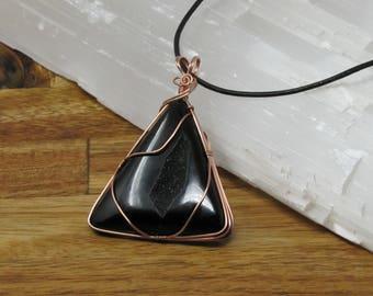 Handmade Copper Wire Wrapped Black Onyx Druzy Pendant Necklace